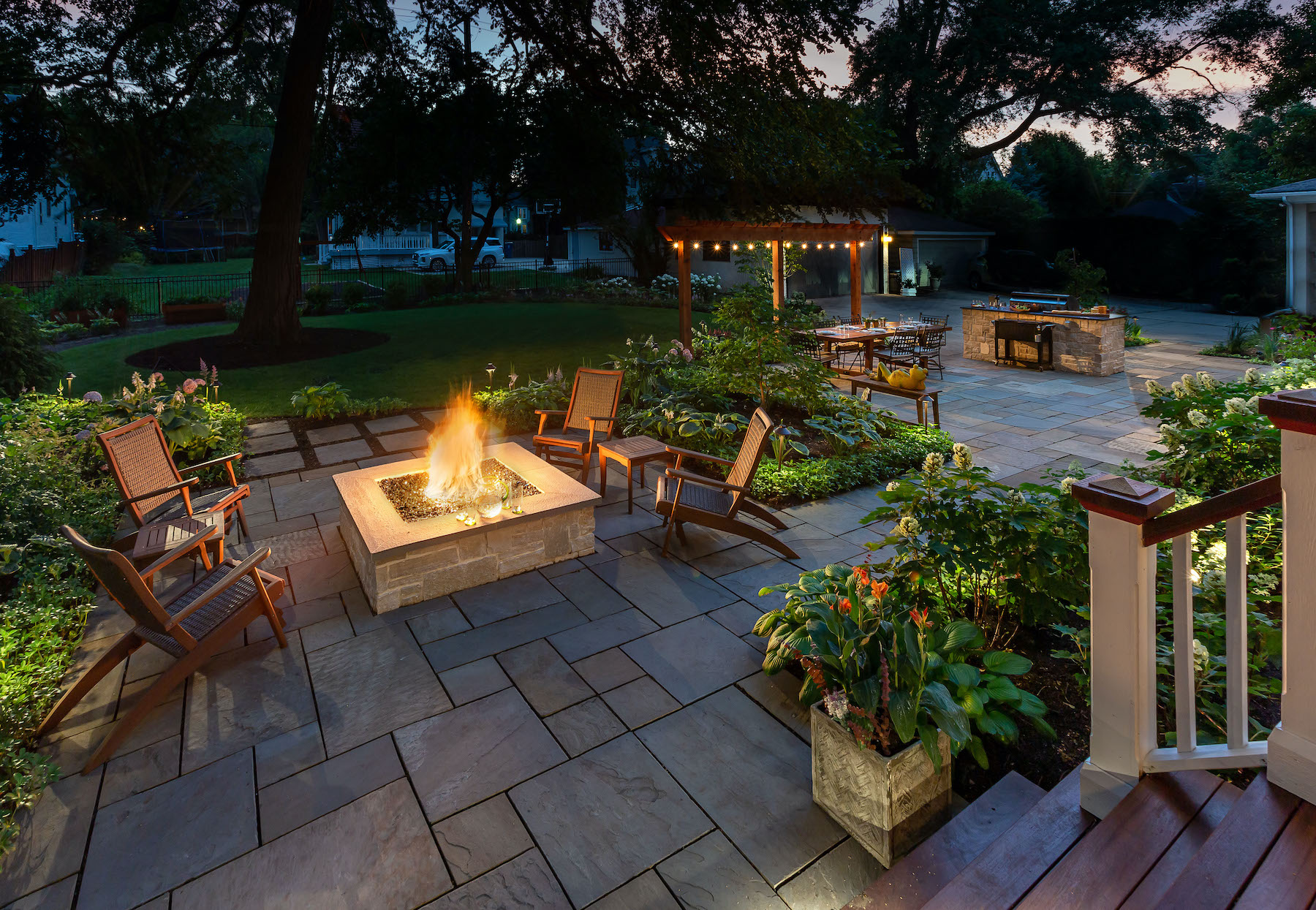 Fire pit, patio and outdoor kitchen
