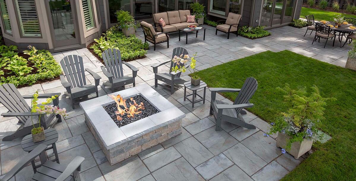 Gas fire pit and natural stone patio