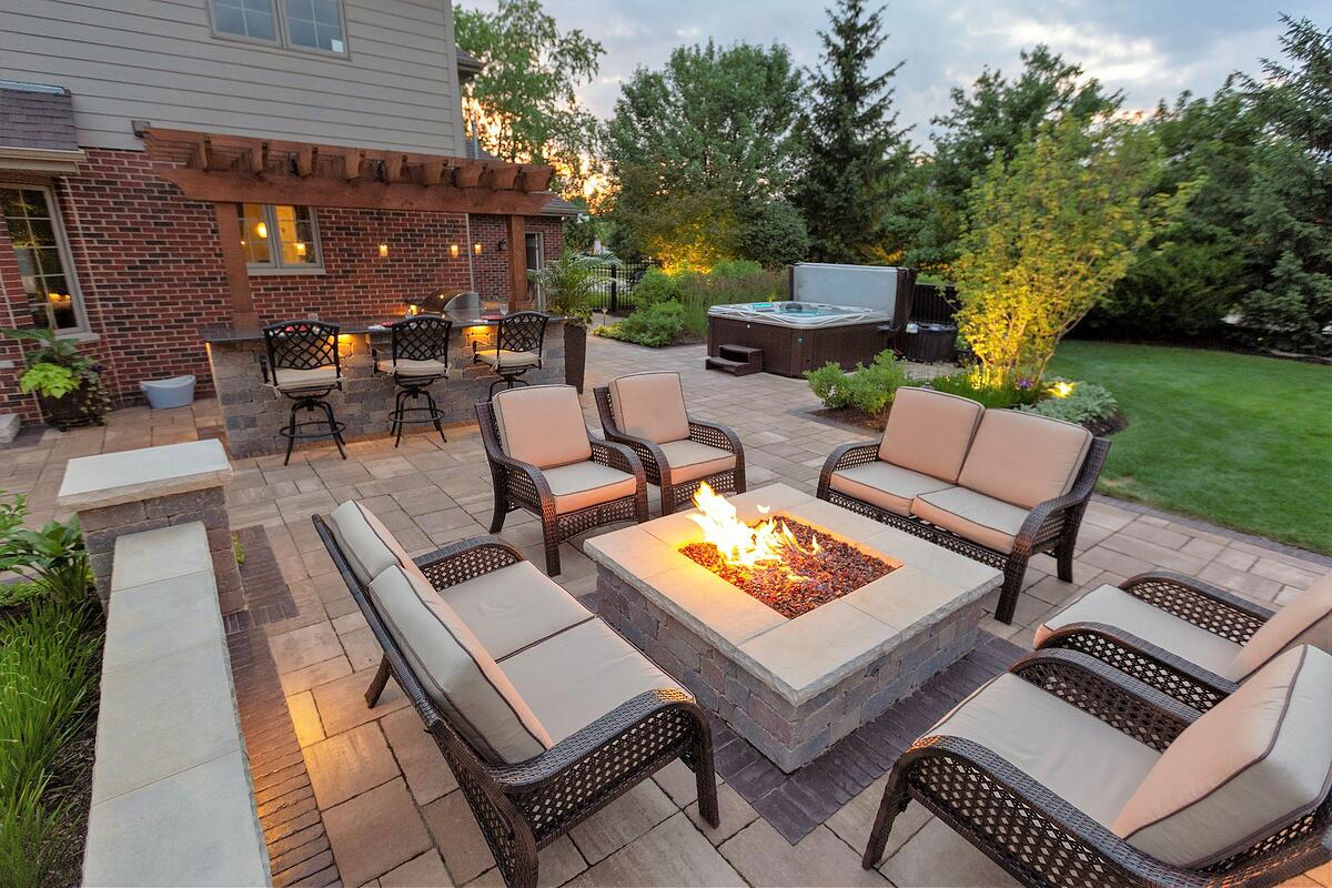 Gas fire pit and patio