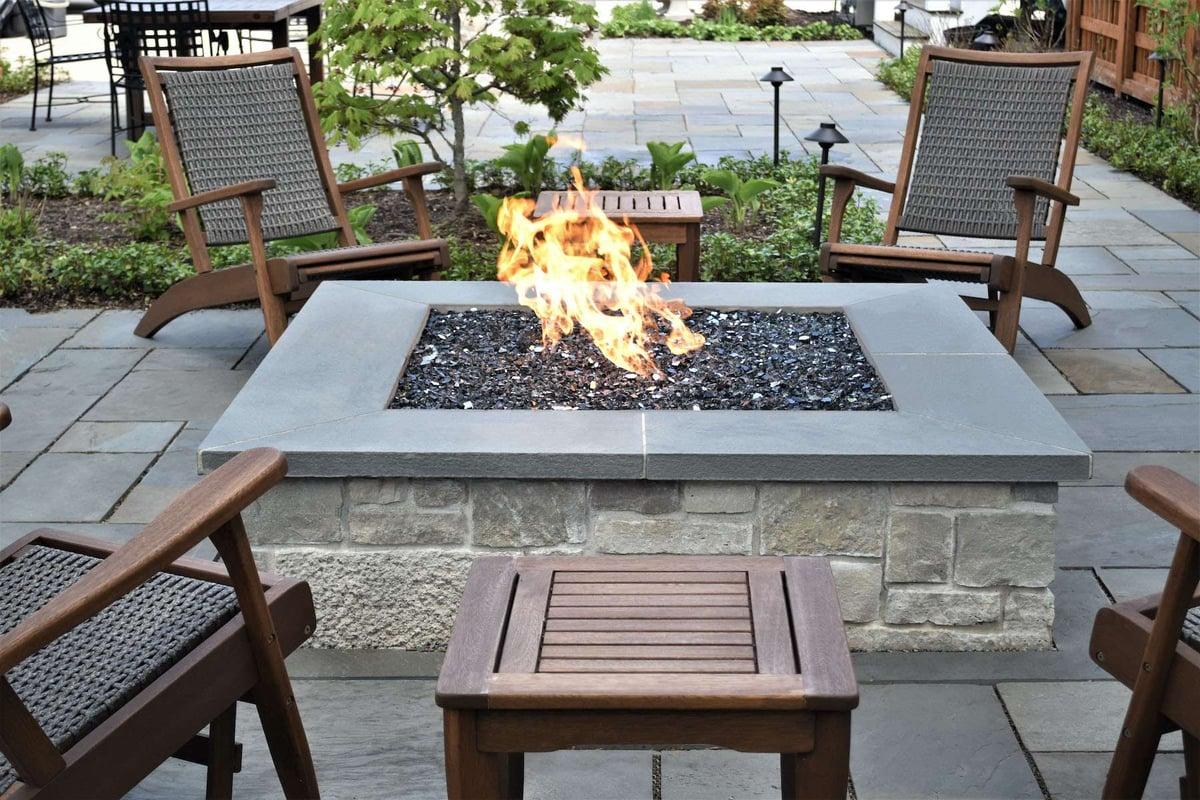 safe gas firepit on patio