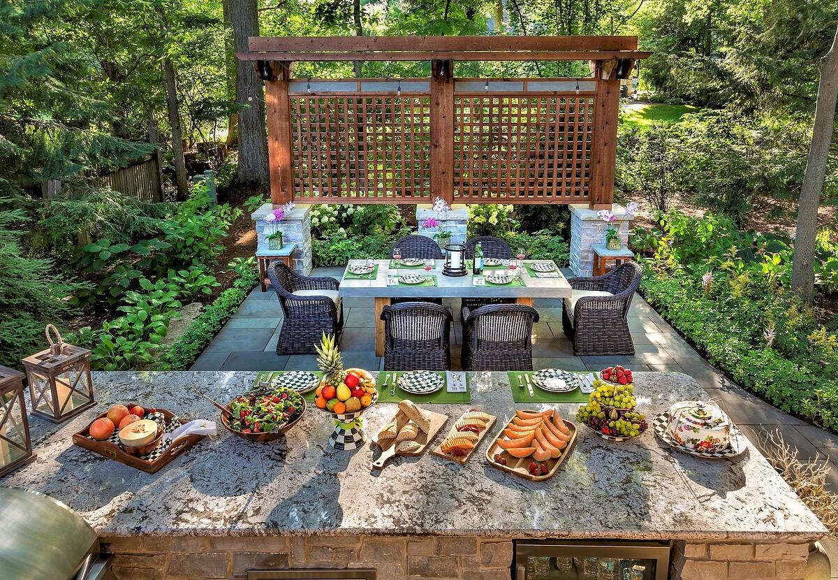 outdoor kitchen with seating area