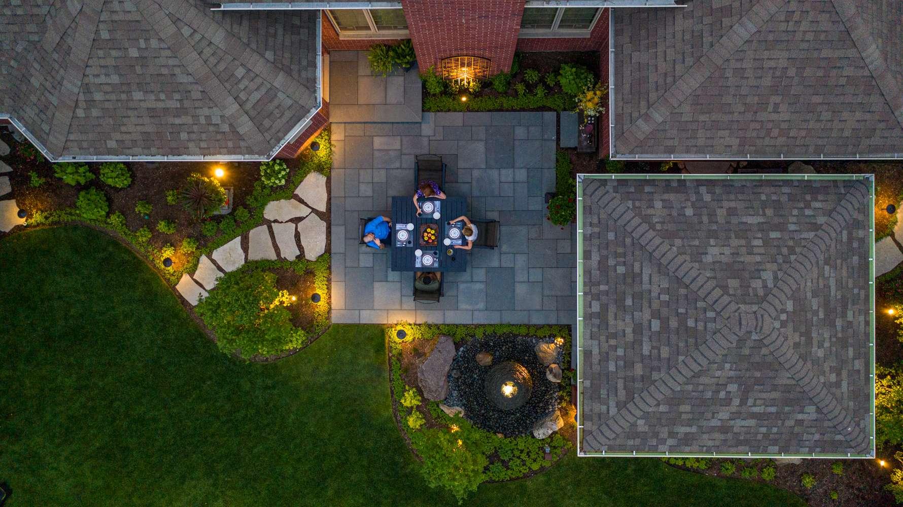 Aerial view of brick paver patio