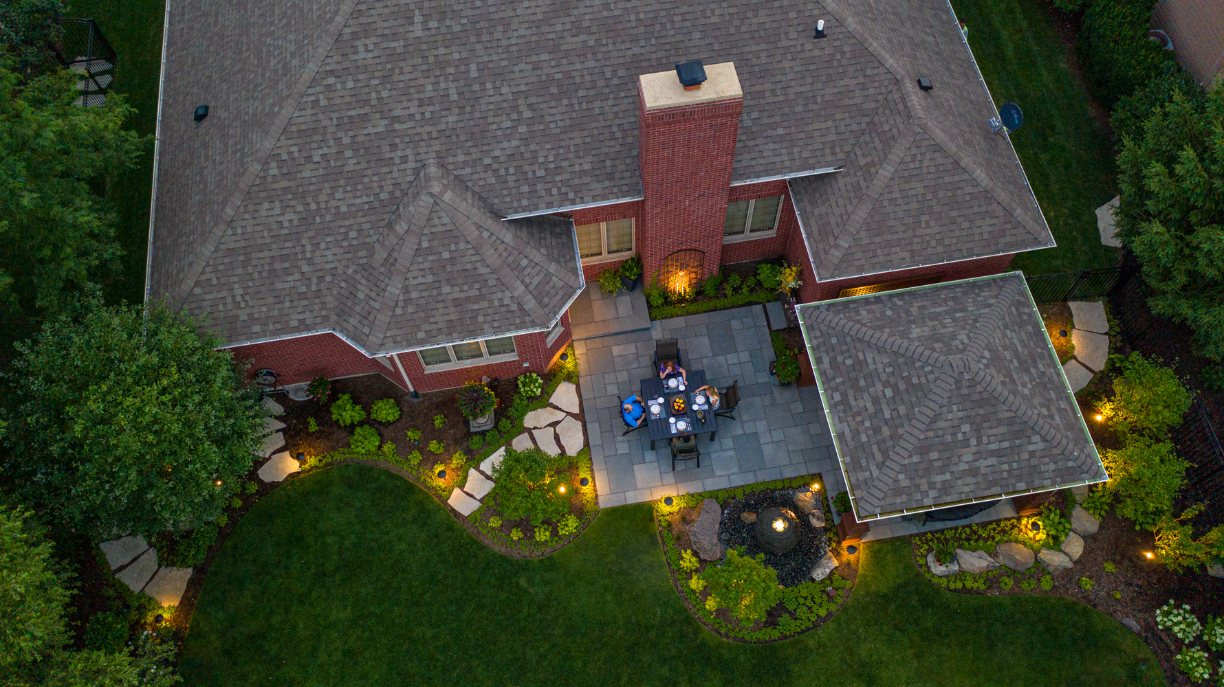 Aerial view of landscape lighting