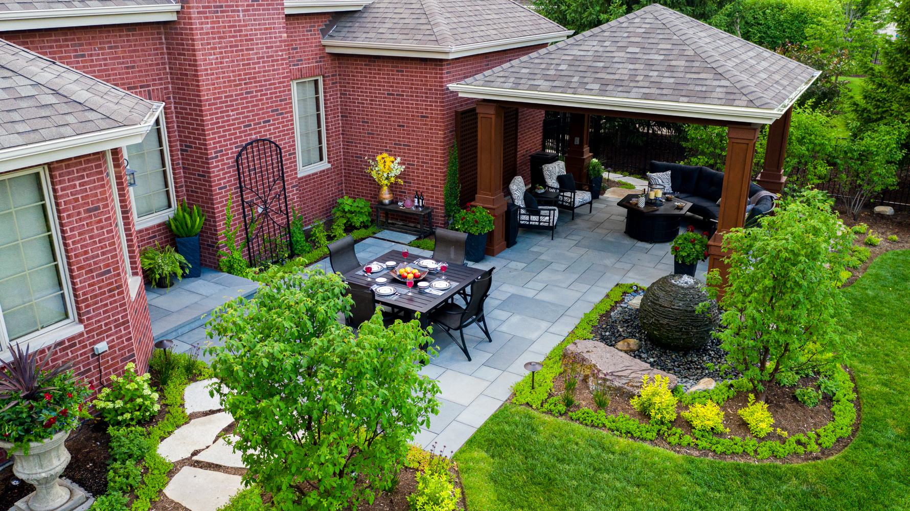 Backyard patio and pavilion for entertaining