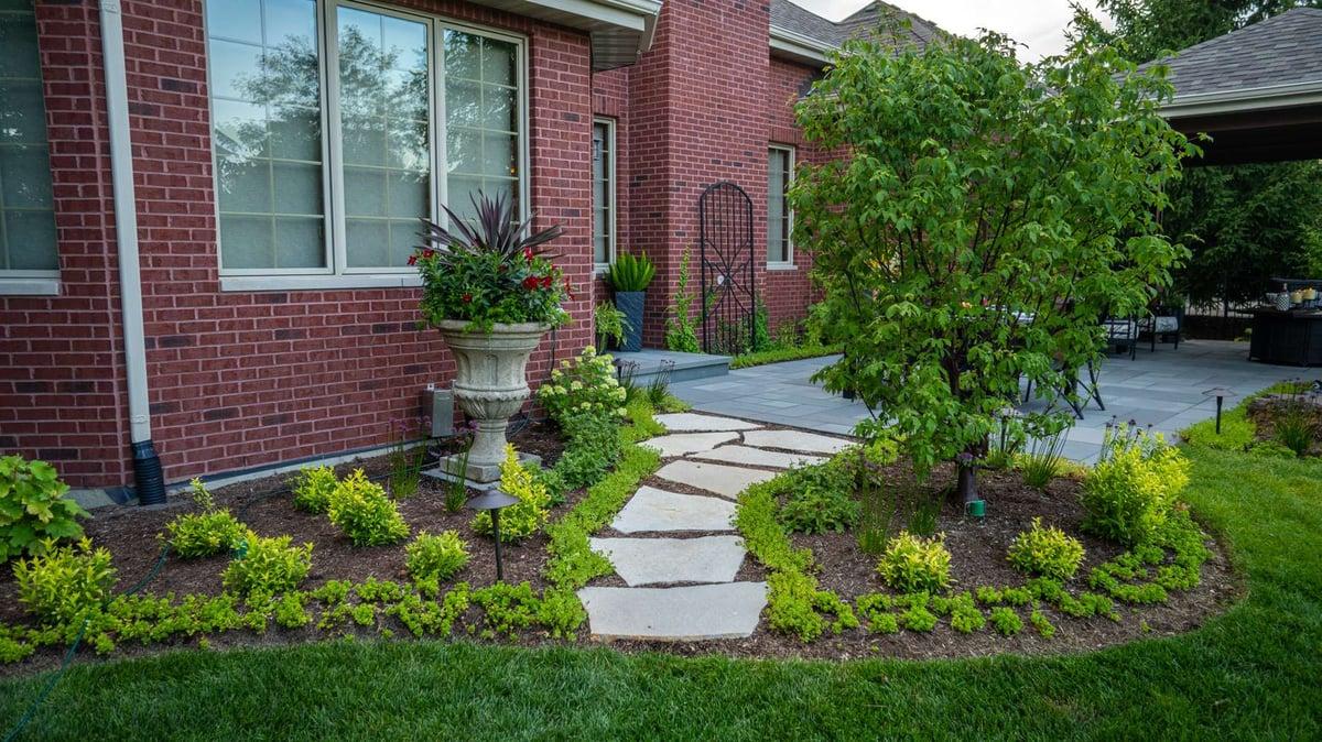 low maintenance plantings around patio