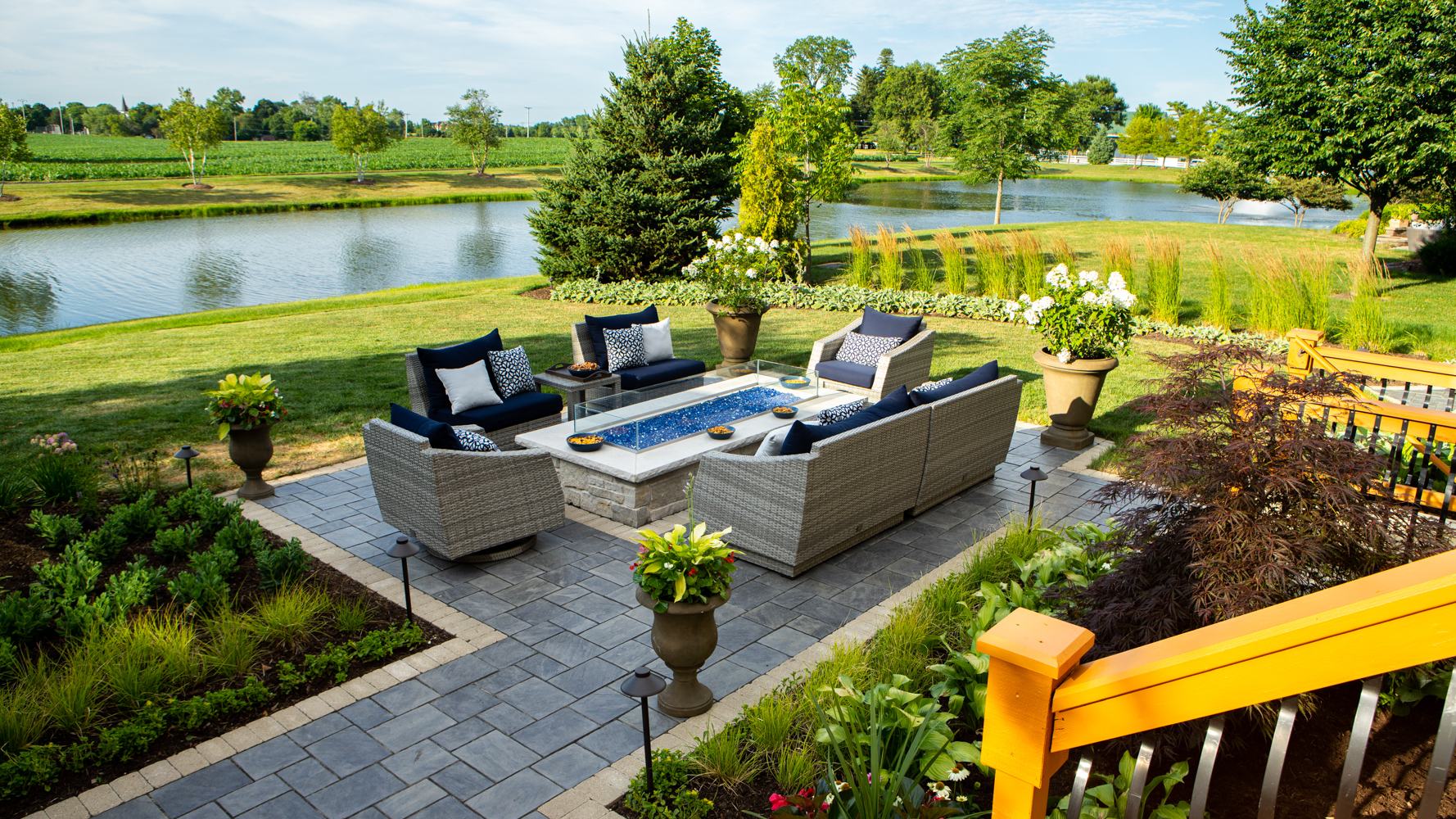 brick paver patio and fire feature