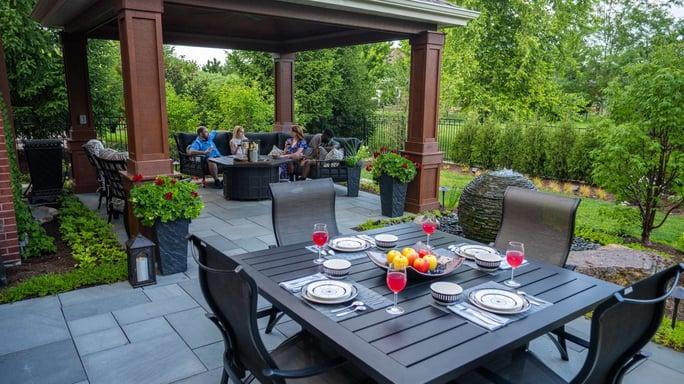 Homeowners enjoying pavilion and patio