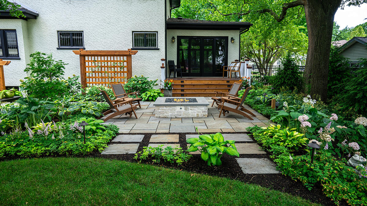 hydrangea and other low maintenance plantings around patio