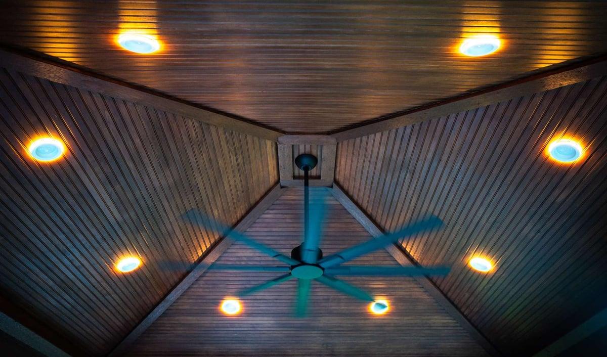 ceiling fan and lighting inside pavilion