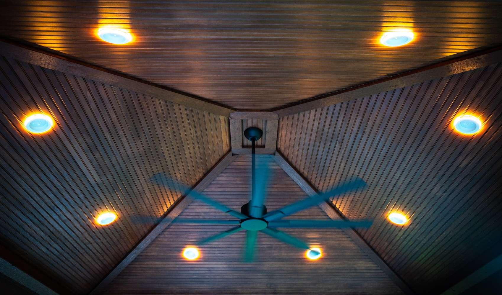 Pavilion ceiling lights and fan