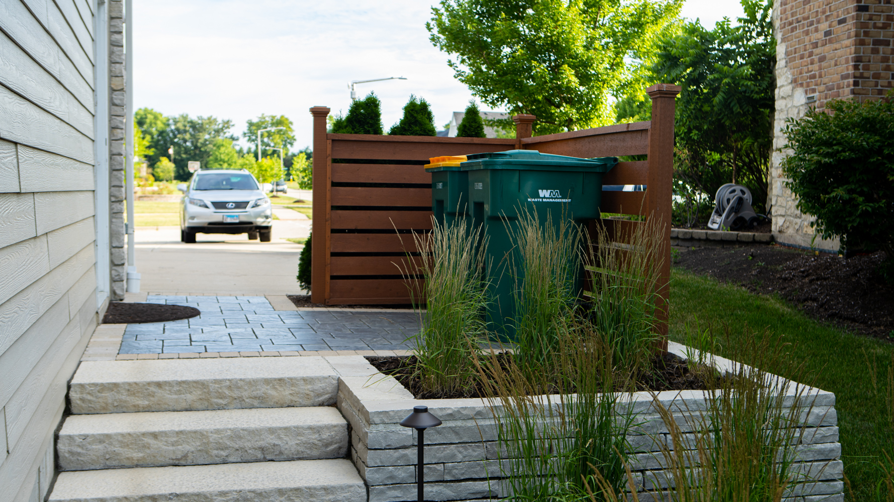 Tiered landscaping and privacy fence