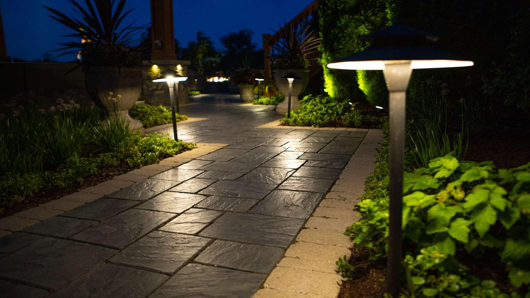 Glare shields on pathway lighting