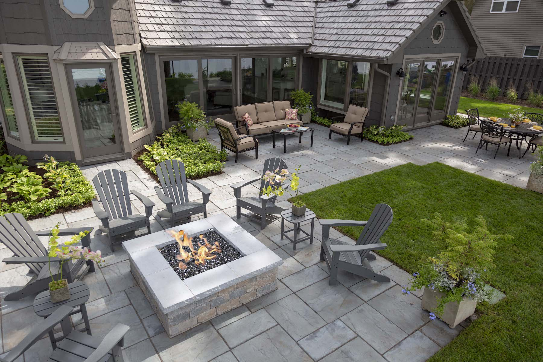 Fire pit and natural stone patio