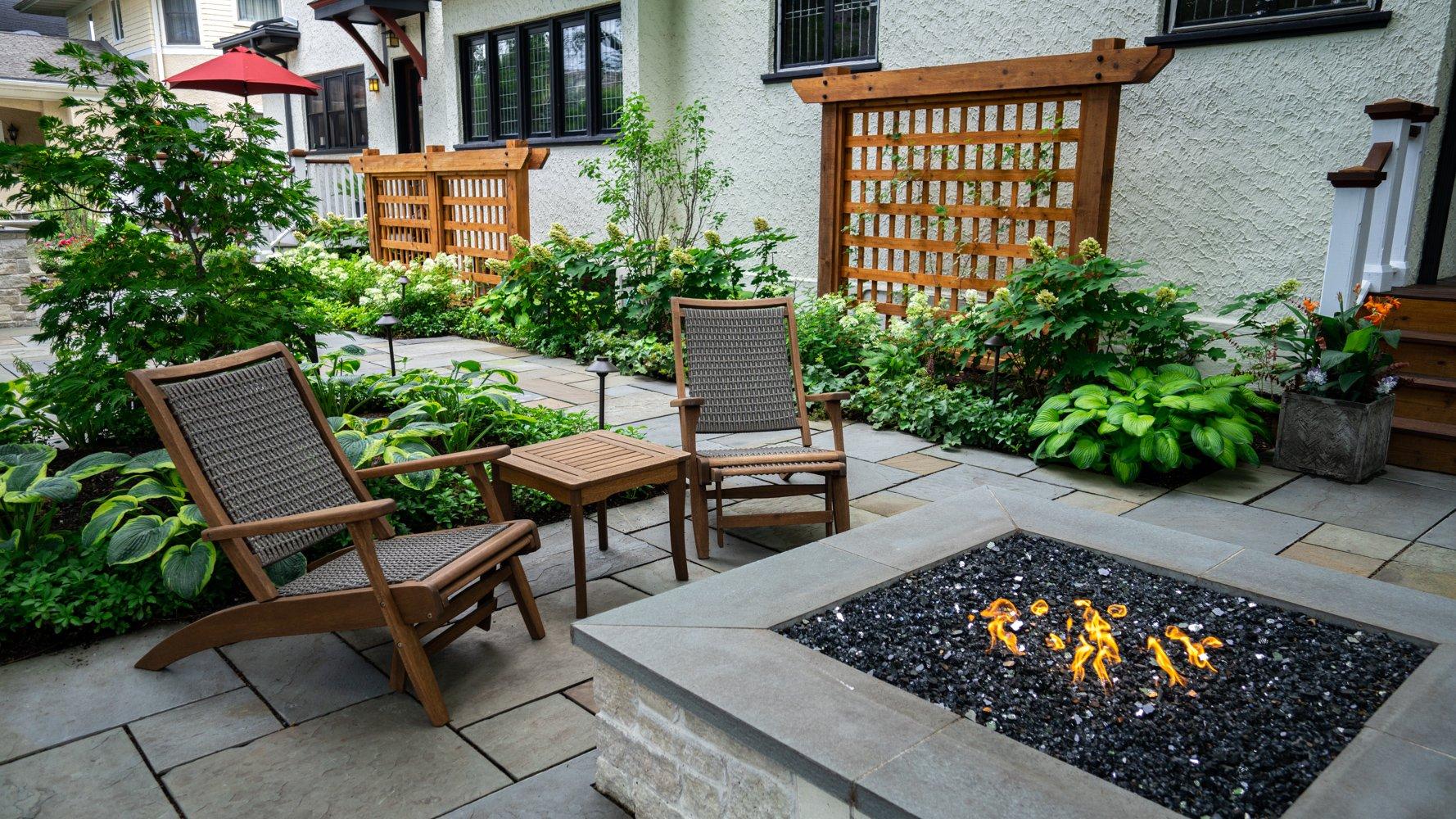 Fire feature on a bluestone patio