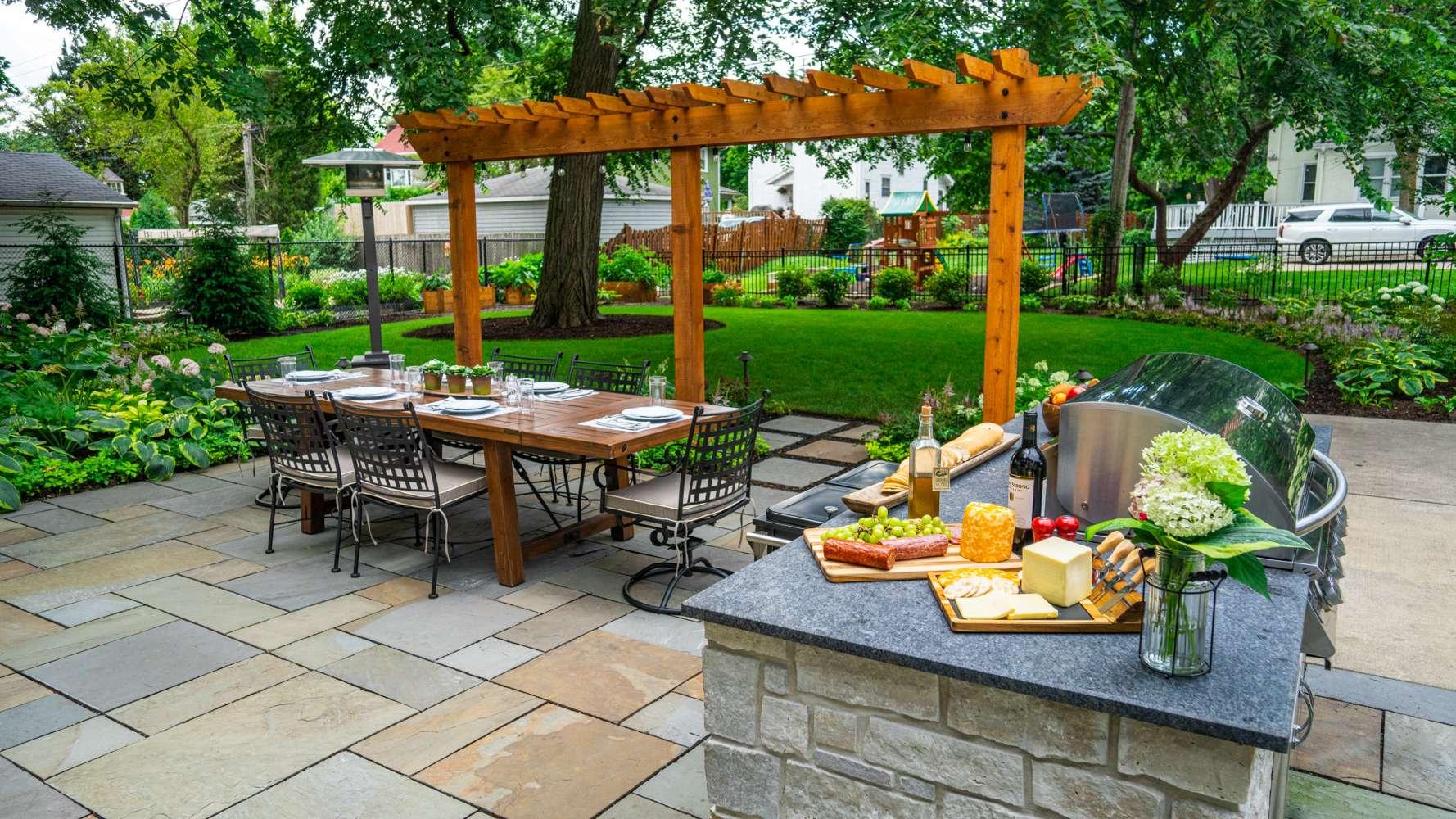 bluestone patio and pergola